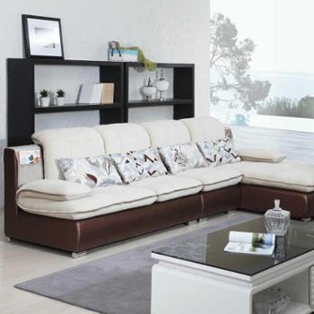 雅宝家具 DSP13-28皮配布沙发 简约布艺沙发 时尚配色抱枕 收纳袋