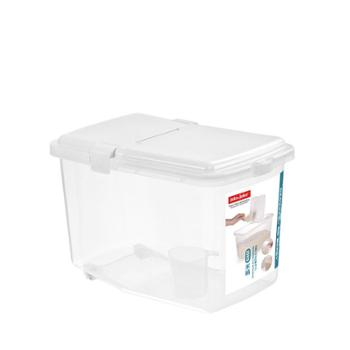 jeko&jeko 储装米箱米缸杂粮面粉防虫防潮加厚带盖20斤 白色