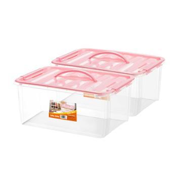 jeko&jeko 便携储物箱塑料透明中号手提式收纳盒 粉色 18L 两个装
