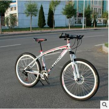 森朗升级版26寸弯梁减震山地自行车/21速24速双碟刹变速车山地车