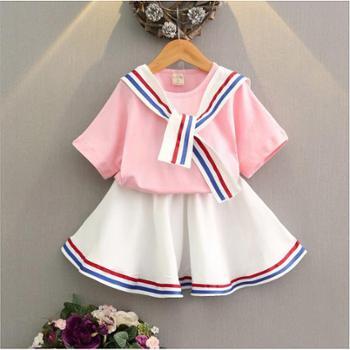 新款女童套装儿童海军风上衣学院风两件套半身裙套装