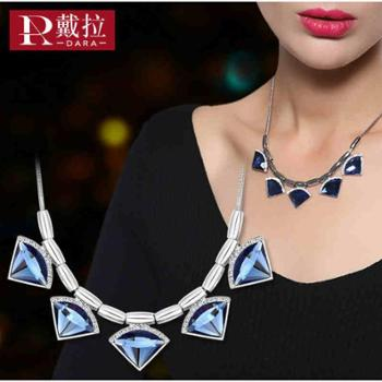 戴拉人造水晶短款项链女韩版时尚*锁骨链OL气质几何挂饰
