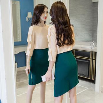 时尚韩版2017秋季新品圆领钉珠纯色上衣+开叉下摆半身裙套装2978女装
