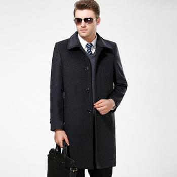 【新款包邮】2017冬季加厚男士羊毛呢大衣中长款中老年男装羊绒夹克