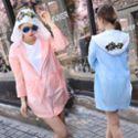 夏季新款韩版时尚刺绣花朵连帽长袖防晒衣女超薄透气户外服中长款