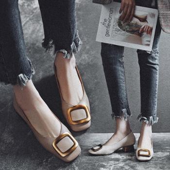 小红人浅口单鞋女粗跟2018新款春季女鞋中跟方头鞋女复古奶奶鞋子