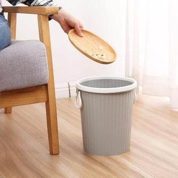 简约家用带压圈垃圾桶厨房客厅卫生间塑料垃圾筒办公室纸篓