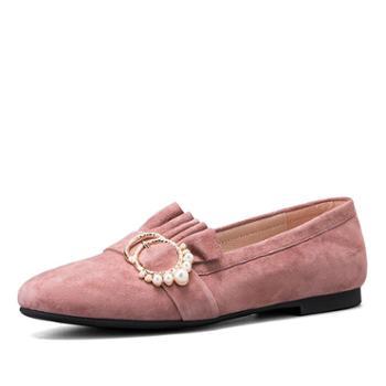 奥康女鞋2018秋季新款绒面复古护士鞋金属珍珠淑女减龄英伦单鞋