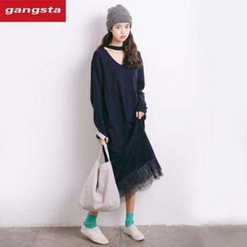 【gangsta】2018新款韩版V领长袖中长款连衣裙【千盛百货】