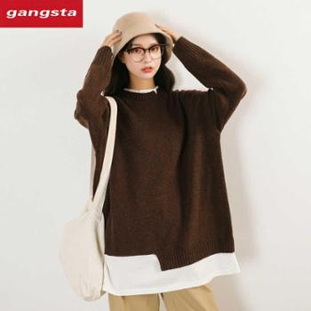 【gangsta】韩版毛衣宽松慵懒假两件圆领长袖套头毛衣【千盛百货】M706
