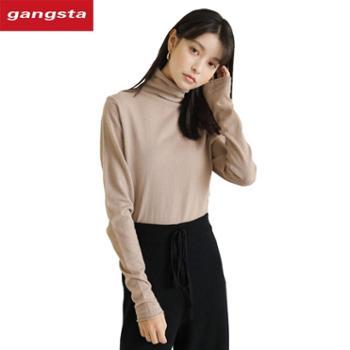 【gangsta】针织衫女2018秋冬款女装修身打底高领毛衣套头衫上装【千盛百货】M859