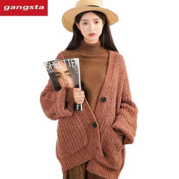 【gangsta】2018冬季新款韩版宽松厚实慵懒毛衣网红外套【千盛百货】M756