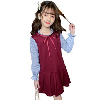 亲春女童连衣裙长袖韩版童装中大童公主裙子儿童泡泡袖裙MC9002连衣裙