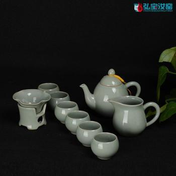 弘宝汝窑 粉青釉 凝香茶组十件套 礼盒包装