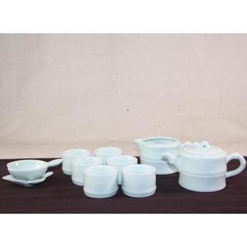 弘宝汝窑 精品玉质竹韵茶组十件套 原产地汝瓷 礼品 礼盒包装
