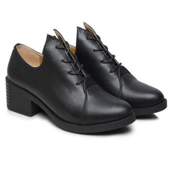 上匠风华 四季款 头层牛皮 橡胶底 女子时尚厚底 休闲单鞋8104