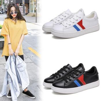 上匠风华 四季款 牛皮二层皮橡胶底 女子时尚韩版拼色小白鞋189