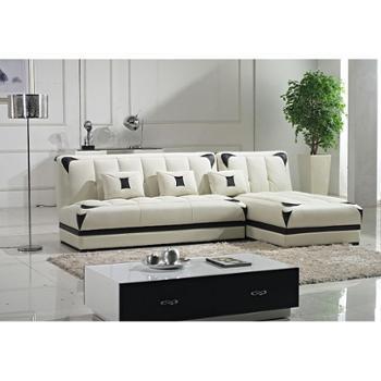 爱尚家具俬游记现代时尚转角沙发进口皮沙发组合3人位带贵妃位