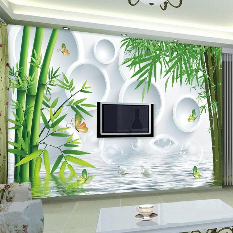 大型壁画客厅沙发卧室电视背景墙无缝墙布立体竹子
