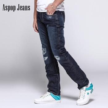 ASPOP男款破洞磨砂莱卡修身休闲牛仔裤直筒裤订制款量体订制A16F13-48