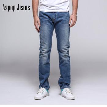 ASPOP潮男赤耳单宁水洗男士修身休闲直筒牛仔裤订制款量体订制A16SF1350