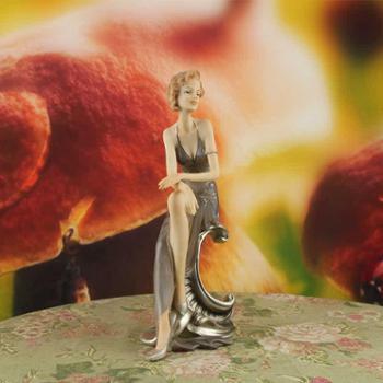 煌嘉工艺窈窕淑女雅姿款时尚创意高档结婚礼物树脂摆件工艺品欧式客厅人物女摆设简约现代
