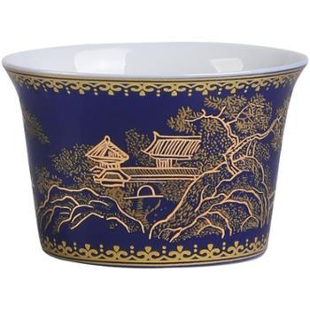 品瓷汇霁蓝釉重工描金茶杯单杯功夫主人杯陶瓷品茗杯景德镇号祭蓝