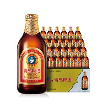 青岛啤酒金质小棕金玻璃瓶296mlx24瓶装