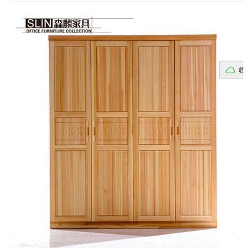 实木简约四门衣柜卧室平开松木衣橱纯实木家具被柜
