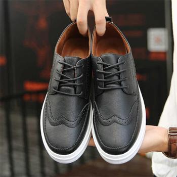 春秋季新款男士板鞋英伦风雕花布洛克学生板鞋青少年百搭潮流日常休闲男鞋子