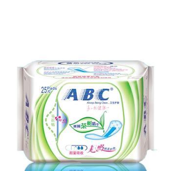 ABC卫生巾超吸棉柔加香澳洲茶树精华卫生护垫25片163mm*6包