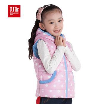 季季乐童装 时尚百搭款波点连帽女童棉马甲 GDA43099