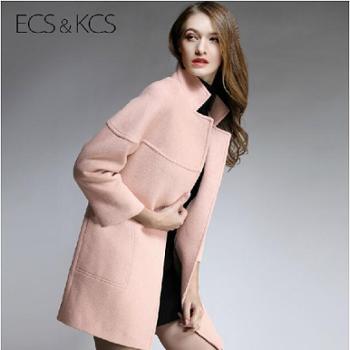 毛呢外套欧美茧型加厚 中长款宽松大码羊毛呢子廓形大衣秋冬女款