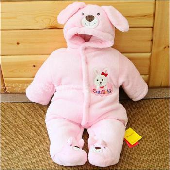 贝秀婴儿冬装新生儿冬季加厚连体衣服装初生宝宝外出服棉衣0-3-6个月
