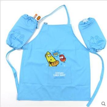新款韩国儿童围裙+袖套卡通宝宝罩衣防水幼儿园画画衣吃饭衣3-8岁