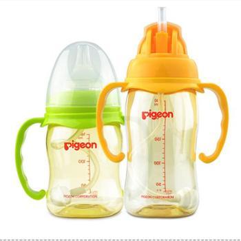贝亲宽口径PPSU奶瓶宝宝奶瓶婴儿塑料奶瓶带吸管握把240ML