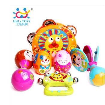 汇乐婴儿玩具宝宝摇铃0-1岁儿童益智音乐玩具手鼓沙锤乐器组合一件