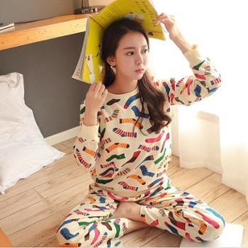 睡衣女纯棉 长袖可爱卡通韩版宽松套装 家居服女款冬