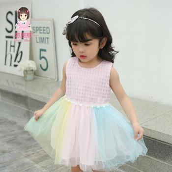 恩恩熊 女童连衣裙婴儿公主裙0夏季新款1岁3童装2儿童夏装女宝宝裙子
