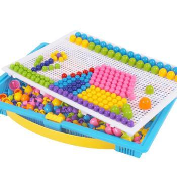 儿童蘑菇钉大号拼图插板益智力玩具1-2-3-6周岁7男孩女孩种磨菇钉