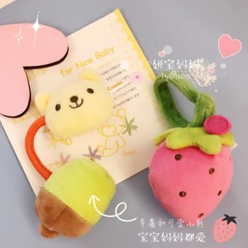 日本Combi康贝超柔软小熊草莓抓握玩偶 婴幼儿宝宝手摇铃1个装