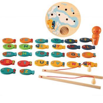 婴幼儿童磁性钓鱼玩具套装1-2周岁益智男女孩子3-4-6岁宝宝木质制