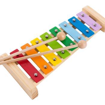 福孩儿木制八音琴儿童手敲琴打击乐器婴幼儿宝宝益智敲击音乐玩具小木琴七彩