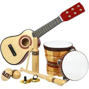 福孩儿木质儿童乐器吉他组合套装男孩女孩初学者音乐鼓启蒙早教玩具宝宝礼物
