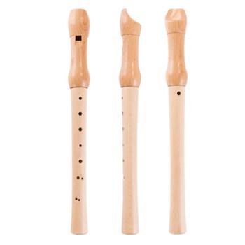 福孩儿榉木8孔竖笛原木色木制玩具小孩学生初学入门儿童笛子3岁+