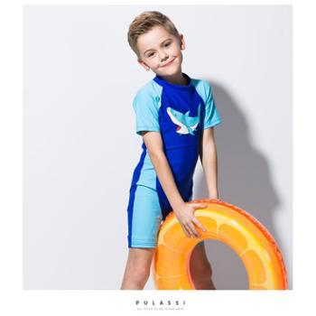 PULASSI 儿童泳衣男童连体中大童长袖沙滩防晒婴儿宝宝泳衣男童儿童游泳衣
