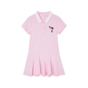 巴拉巴拉女童新款修身版淑女大中短袖时尚连衣裙
