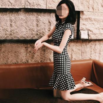 荷恋情改良版新式旗袍连衣裙格子短款中国风修身鱼尾