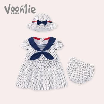 Voonlie童装女宝宝连衣裙可爱海军风裙子套装洋气婴儿公主裙3件套