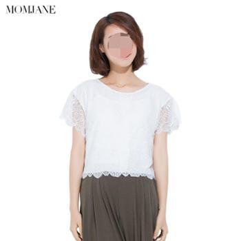 Mom Jane哺乳衣外出装夏季孕妇产后喂奶衣蕾丝薄款时尚短袖T恤上衣春秋女